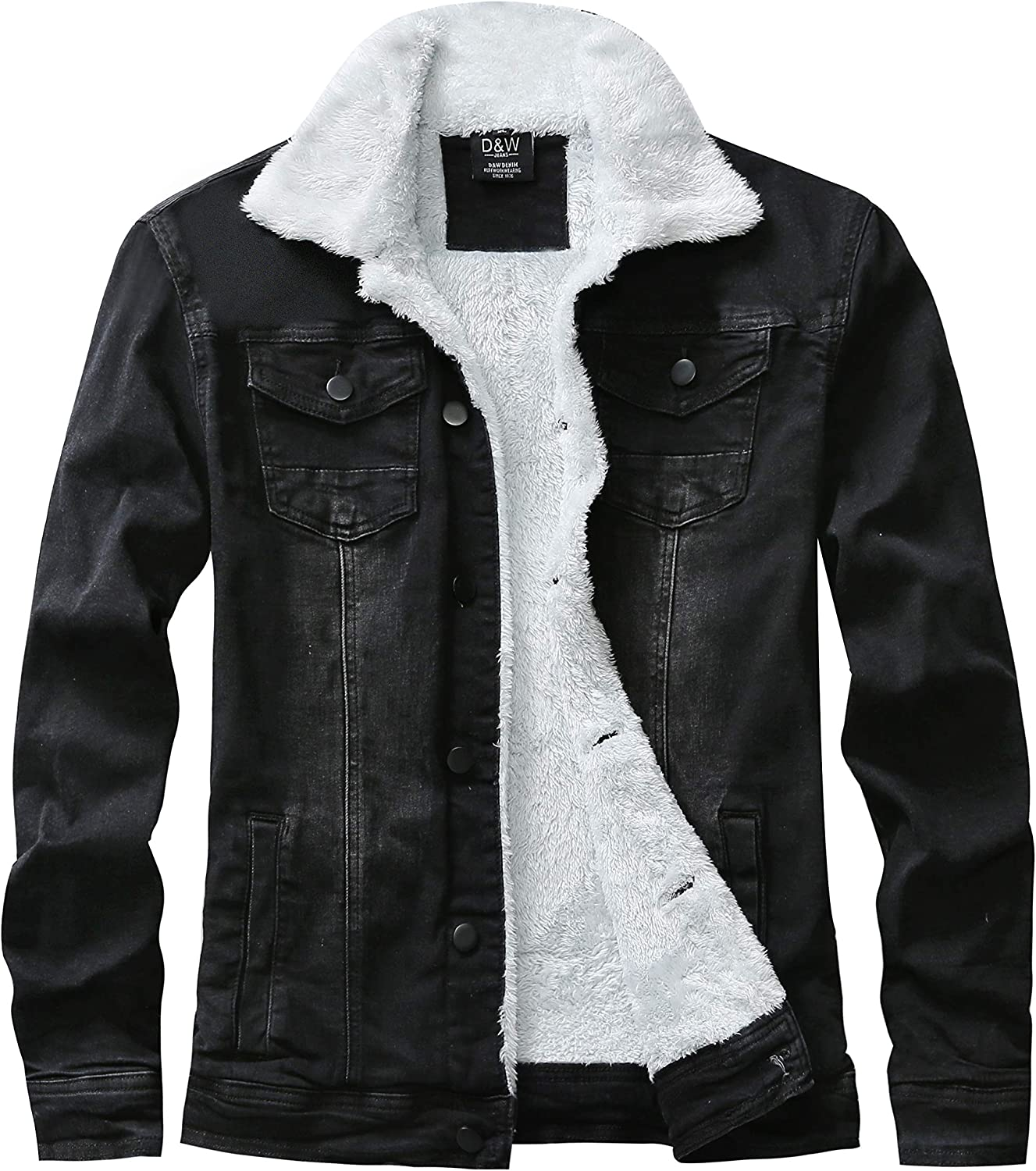 Vintage Fleece Lined Jacket, Distressed Denim Jacket with Faux Fur All Through-out, Slim Fit Sherpa Jean Motorcycle Jacket