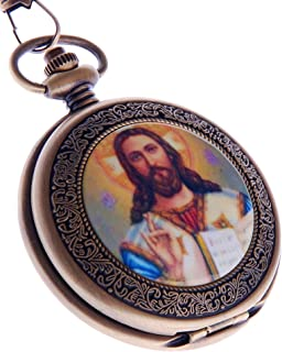 Jesus Christ Pocket Watch Quartz with Chain Christian Religious for Men and Women by ShoppeWatch PW-49