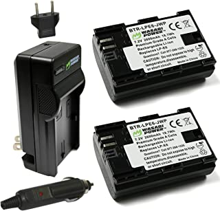 Wasabi Power LP-E6, LP-E6N Battery (2-Pack) and Charger for Canon EOS 5D Mark II/III/IV, EOS 5DS, 5DS R, EOS 6D, 6D Mark II, EOS 7D, 7D Mark II, EOS 60D, 60Da, 70D, 80D, EOS R, XC10, XC15