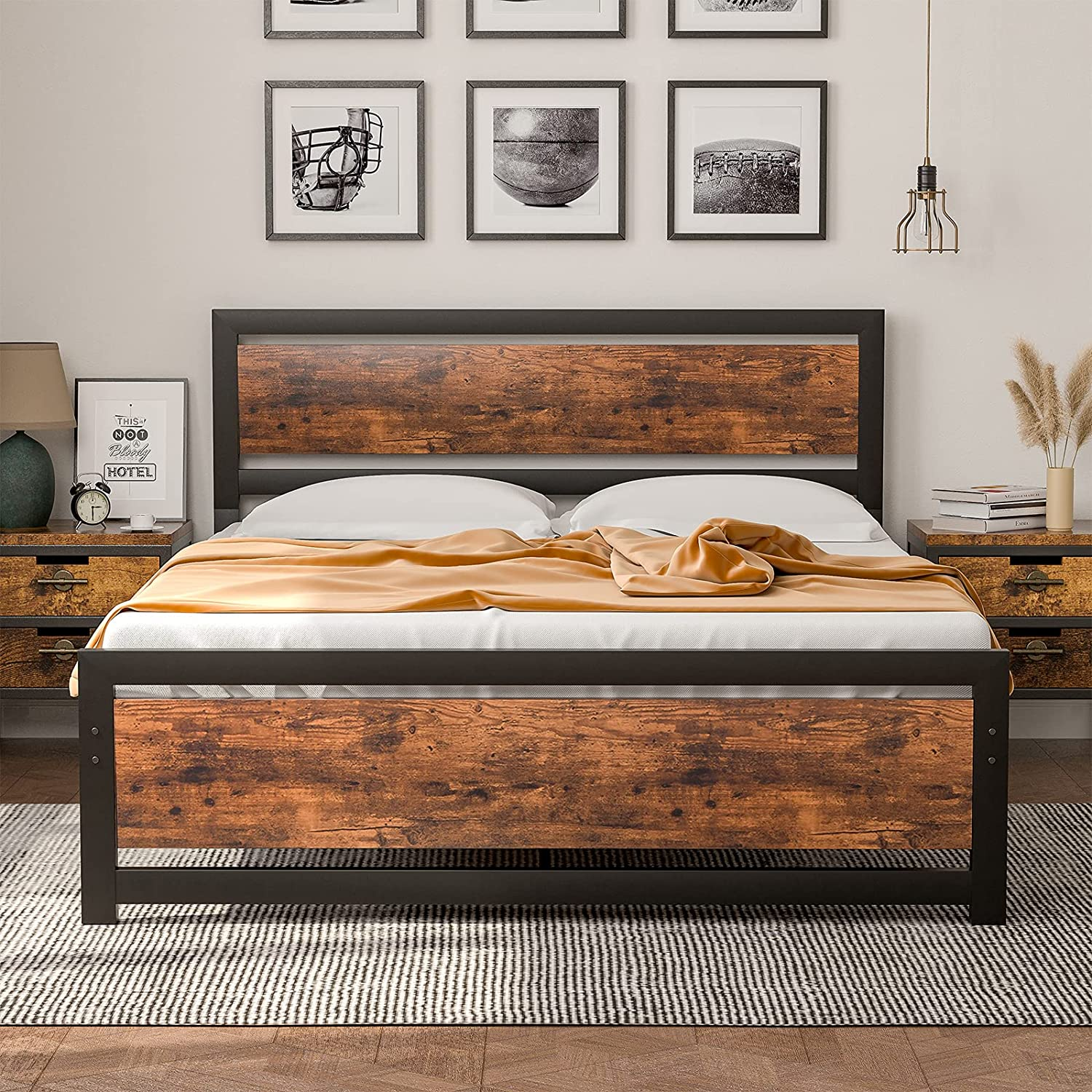 Queen Surprise price Bed Frame with Wooden Headboard Platfo Heavy Duty Directly managed store Rustic