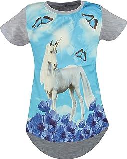Unbekannt Einhorn Pegasus Kinder Mädchen 3D Druck Lang T-Shirt Bluse Kurzarm Tunika