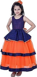 SOFYANA Wish Little Baby Girl's Net Sequin Maxi Dress (BIWL_218 Navy Blue & Orange)