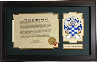 Toledo - Coat of Arms and Last Name History, 14x22 Inches Matted and Framed