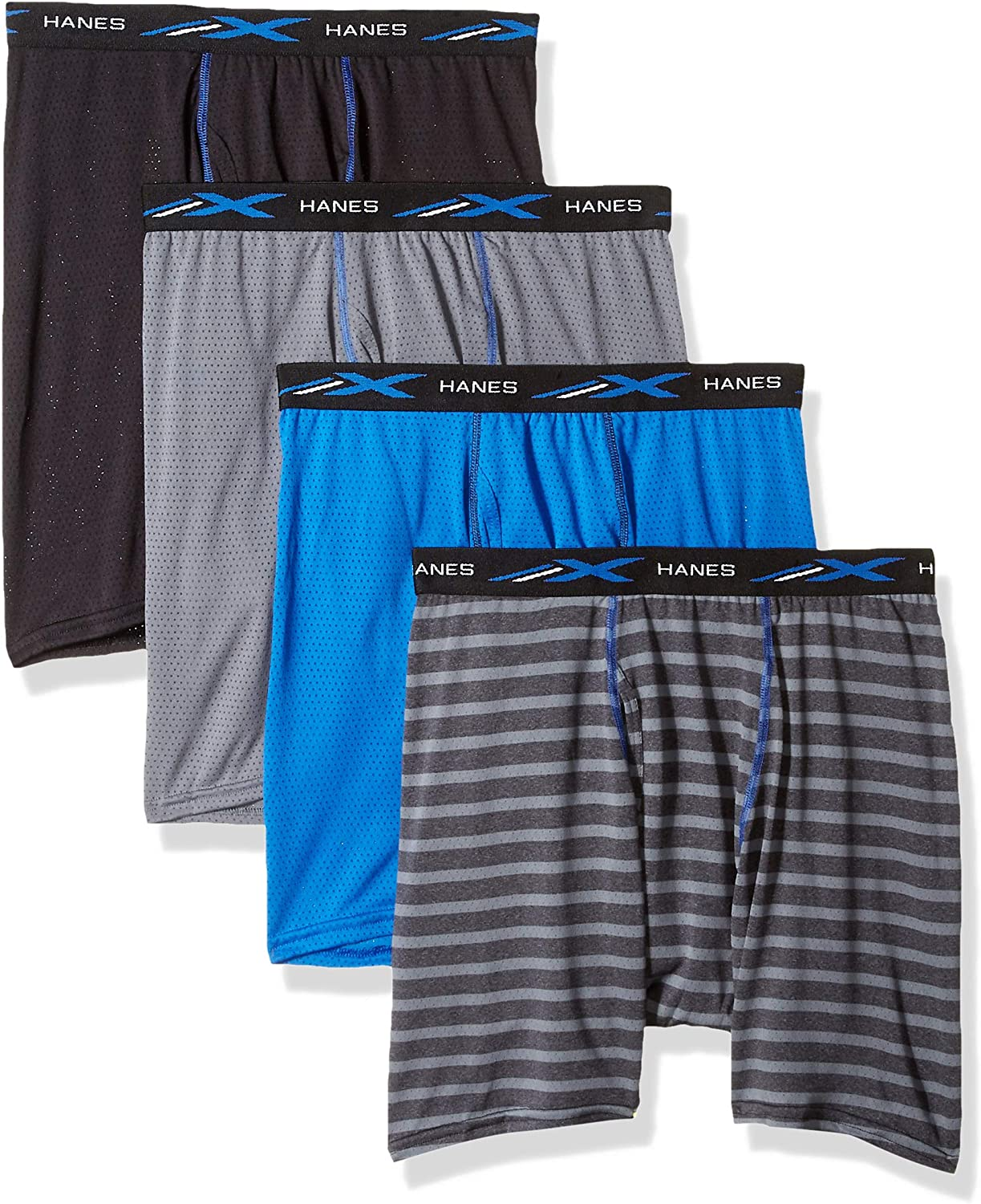 Hanes Boxer Briefs 4-Pack X-Temp Mesh Performance Lightweight Wicking Tag-free