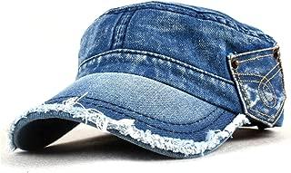 Vintage Washed Denim Cotton Peaked Baseball Cap Distressed Cadet Army Cap Military Hat Visor Flat Top Adjustable