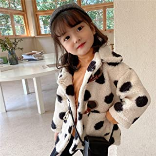 Girls Lamb Wool Padded Coat High Quality (Color : White)
