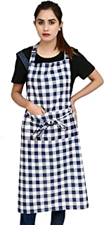 """Ruvanti Chef Apron for Women .100 % Cotton Cute Kitchen Aprons with Pockets. Plus Size (28 X 36 """")Adjustable Neck Strap, Long Ties. Buffalo Check Blue Plaid Apron for Cooking,Baking,Crafting&Painting."""