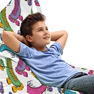 ABAKUHAUS Chambre Adolescent Jouet Sac de Rangement Chaise Lounge, Roller Skates Vivid, Stockage pour Animal en Peluche à ...