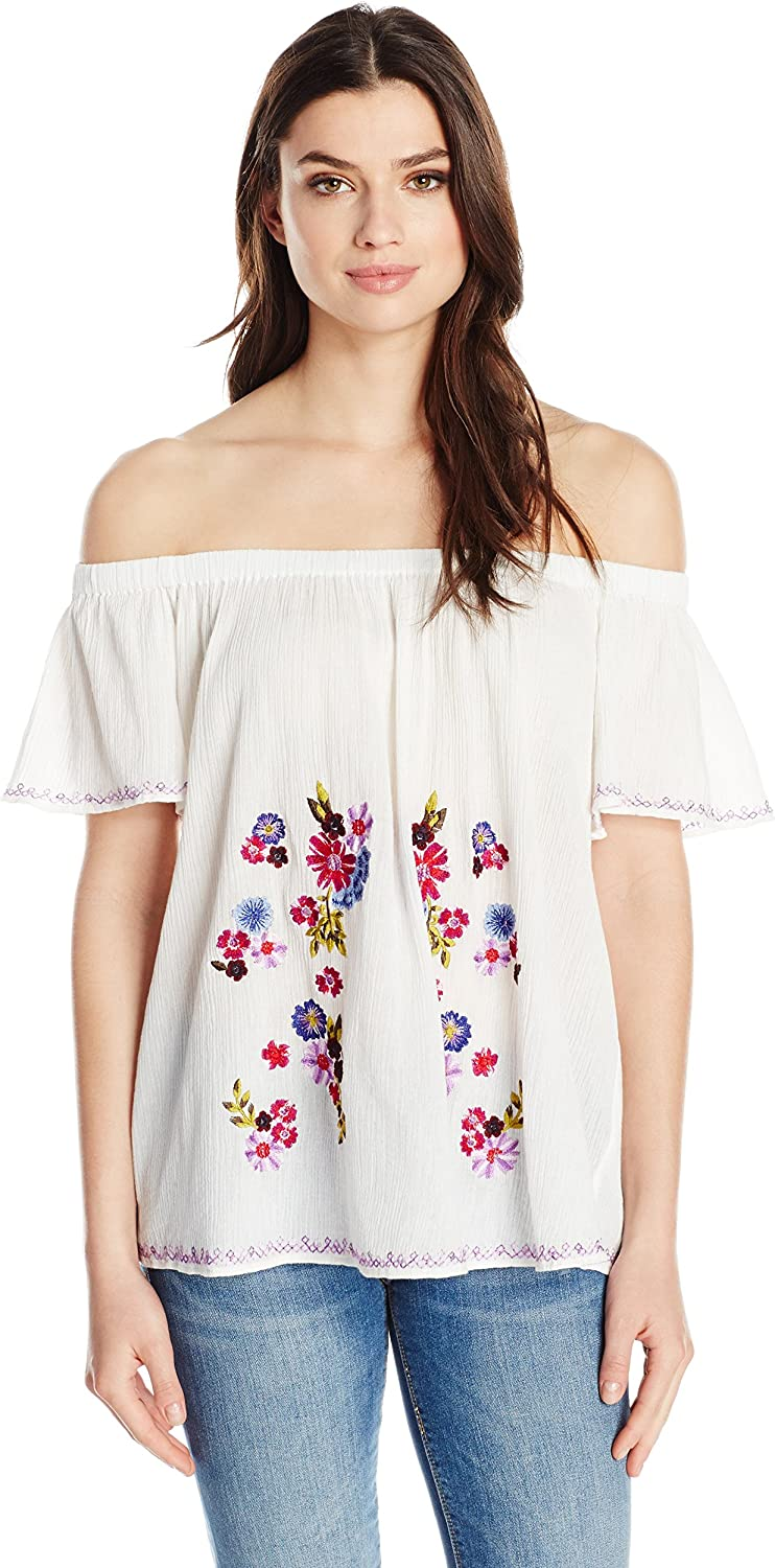 French Connection Womens Jude Embroidery Top Blouse