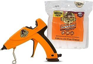 Gorilla 104987 Full Size Hot Glue Gun and Sticks, 45, Orange