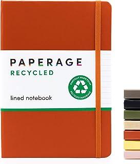 مجله نوت بوک با سطل بازیافت- جلد سخت با بسته شدن الاستیک و نشانک- کاغذ بازیافت شده- خاکستر نارنجی زنگ زده ، خط دار- 5.7 در 8 اینچ- عالی برای روزنامه نگاری ، یادداشت ها ، ایده ها