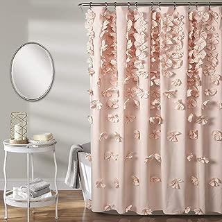 "Lush Decor Riley Shower Curtain | Bow Tie Textured Fabric Shabby Chic Farmhouse Style for Bathroom, x 72"", Blush"