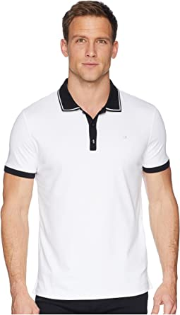 Calvin Klein Short Sleeve Front Panel Jacquard Solid Tipped Polo