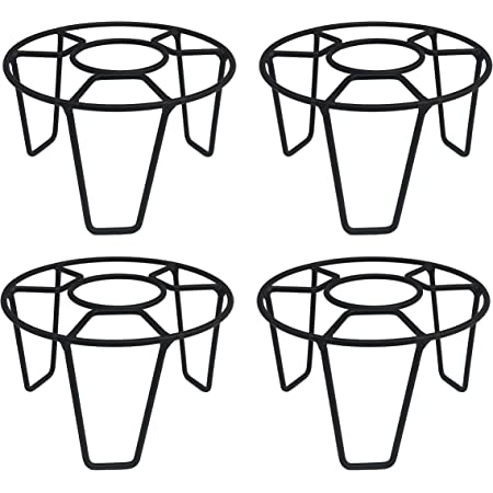 ORCHID ENGINEERS Iron Indoor/Outdoor Flower Pot/Plant Stand for Home Garden Balcony Living Room Decor(Black, Pack of 4)