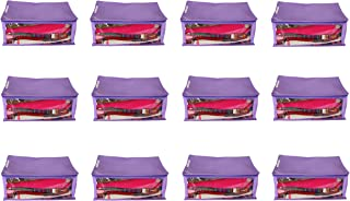 KANUSHI Industries Set of 12 Pc Transparent/Window Non Woven Fabric Saree Cover/Saree Bag/Saree Wardrobe with Stainless Steel Zip Lock Combo (Purple) (Large)