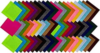 Edukit 60Pcs, 10cm X 10cm (3.9in X 3.9in) Squares Non-Woven Soft 20 Assorted Mixed Colour Felt Fabric Sheets DIY, Crafts, Supplies, Scrapbooks, Patchwork Square