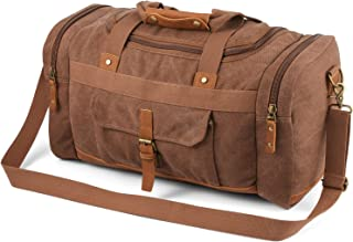 Plambag Canvas Duffle Bag, 50L Large Travel Duffel for Overnight Weekend Luggage(Coffee)