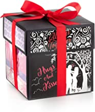 XOXO Explosion Box with Designer Illustrations - Surprise Gift Box for Anniversary, Birthday, Proposal, Valentine's Day, Wedding. Pre-Assembled, 5 Inch Cube Closed, 14x14 Inches Opened (You and I)