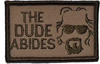The Dude Abides, The Big Lebowski 2x3 Morale Patch - Multiple Color Options (Coyote Brown)