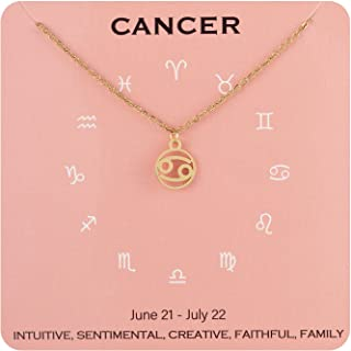 """Augonfever Dainty Constellation Zodiac Sign Choker Necklace 14K Gold Plated for Girls Women 15.75-17.75"""""""
