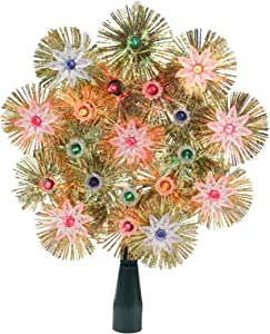 "8"" Lighted Gold Retro Tinsel Snowflake Christmas Tree Topper - Multi Lights"