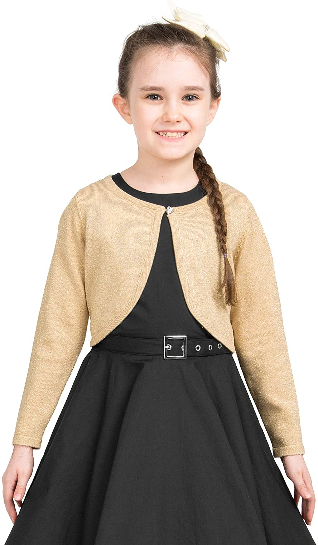 BlackButterfly Kids Long Sleeve Sparkle Cardigan Childrens Girls Shrug