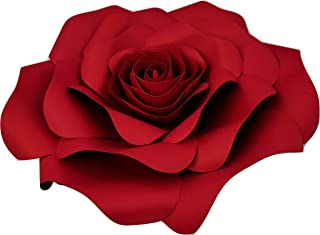 DecorInTheBox Large Paper Flower 30cm (12 inch) Wedding Photography Flower Backdrop, Birthday Wall Decor, Fully Assembled (Dark Red)
