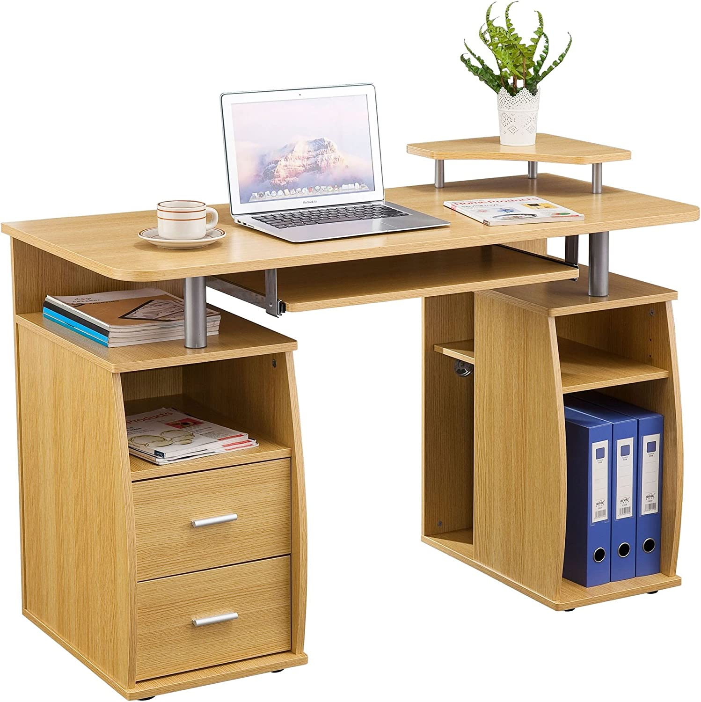 Piranha Groer Computer Schreibtisch mit 2 Schubladen und 4 Regalfchern in Eiche Bureau PC 5o