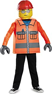 Disguise Lego Construction Worker Classic Costume, Orange, Large (10-12)