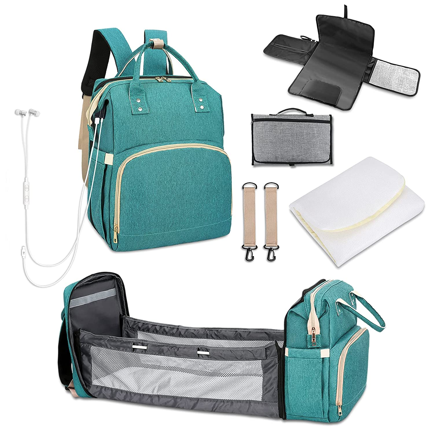 Diaper Bag Backpack with Bassinet Bed Large Mommy Bag Travel Backpack Baby Bag Organizer with Changing Station Pad Bag,Crib,Shade Cloth,Mattress,Stroller Straps,Built-in USB and Headphone Port