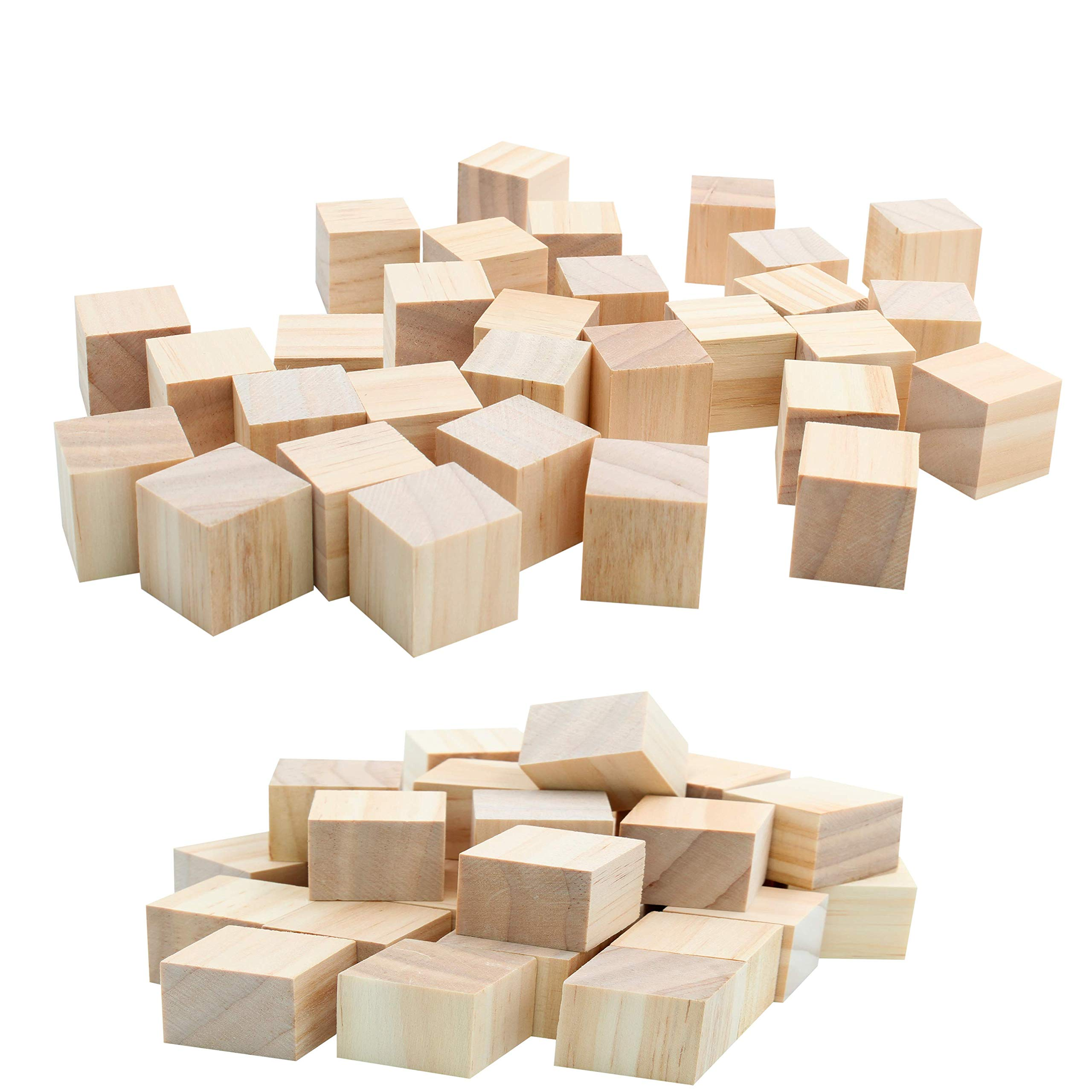 Great for Puzzle Making Crafts and DIY Projects Photo Blocks Tosnail 40 Pack 1.5 Inch Natural Solid Unfinished Pine Wood Blocks Wood Cubes