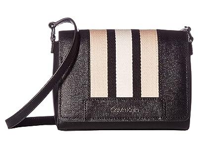 Calvin Klein Clara Saffiano Leather Crossbody (Black Combo) Handbags