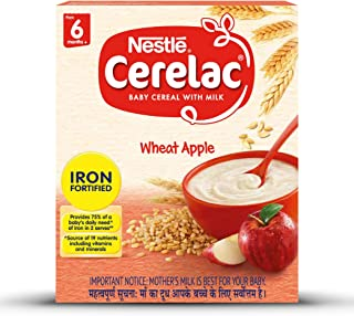 Nestle Cerelac Fortified Baby Cereal with Milk, Wheat Apple - From 6 Months, 300g BIB Pack