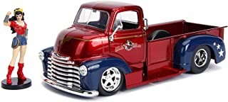 """1952 Chevrolet COE Pickup Truck Red and Blue with Wonder Woman Diecast Figure \DC Comics Bombshells\ Series 1/24 Diecast Model Car by Jada"""""""""""""""