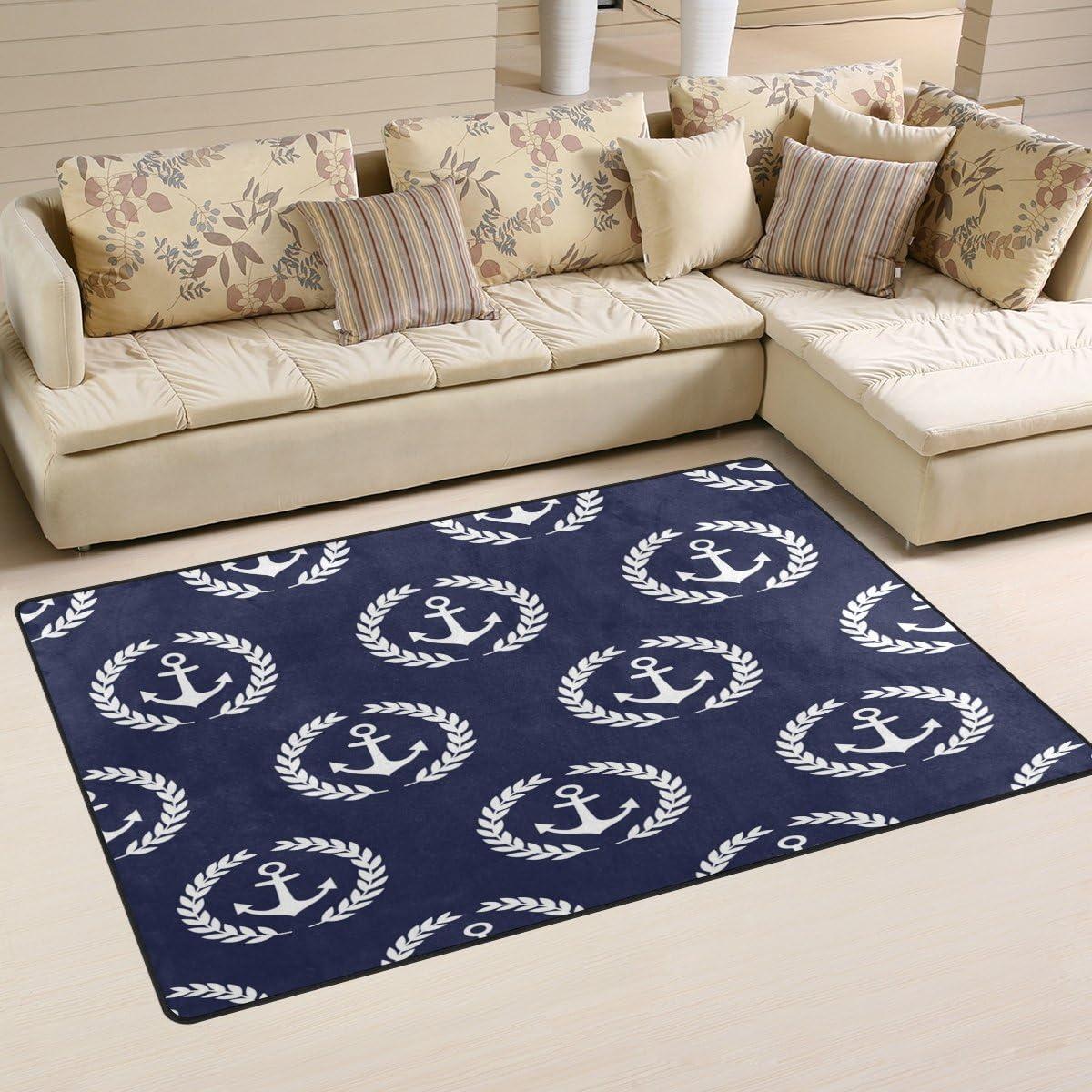 WOZO Navy Anchor Blue Area Rug Mat Floor Doormats Rugs Non-Slip Challenge the lowest Max 88% OFF price of Japan