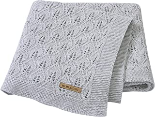 mimixiong 100% Cotton Baby Blanket Knit Cellular Toddler Blankets for Boys and Girls Grey 40x30 Inch