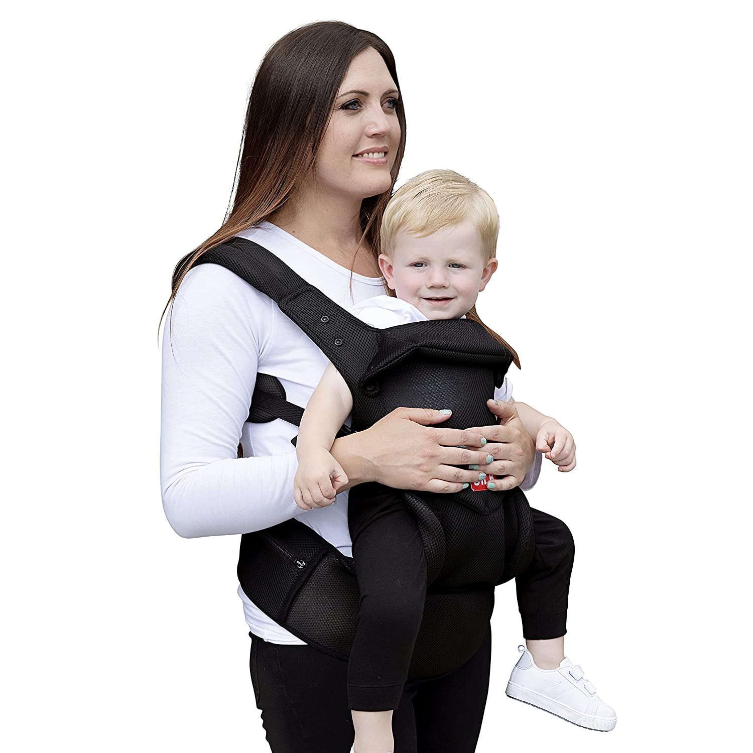 Baby Carrier - Backpack Baby Soft Carrier Black Baby Holder Made From Breathable Cooling Mesh Fabric - Infant and Toddler Carrier with Head and Neck Support, Padded Shoulders, Pockets, and Waist Strap