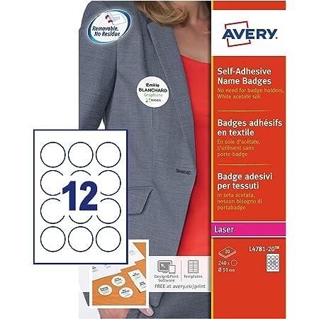 AVERY - Pochette de 240 badges ronds autocollants imprimables pour textile, En soie d'acétate blanche, Diamètre 51 mm, Impression laser, (L4781-20)