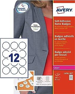 AVERY - Pochette de 240 badges ronds autocollants imprimables pour textile, En soie d'acétate blanche, Diamètre 51 mm, Imp...