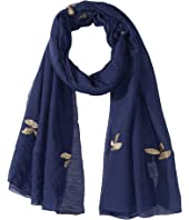 Bindya - Leaf Print Metallic Scarf