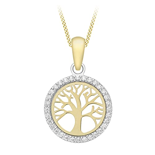 d01513c7311 Carissima Gold 9ct Yellow Gold Cubic Zirconia  Tree Of Life  Pendant on Curb  Chain