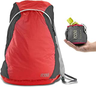 Lewis N Clark ElectroLight Multipurpose Travel Backpack: Lightweight Backpack for Women + Men Packable Daypack, Hiking Camping, Ditty Bag, Red/Charcoal
