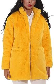 e2e0360e1dc Women Faux Fur Coat Jackets Outerwear Long Sleeve with Pockets Winter Soft  Thick