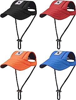 4 Pieces Dog Visor Hats Dog Baseball Caps Pet Sun Protection Caps Outdoor Sports Hats with Ear Holes Pet Baseball Caps wit...