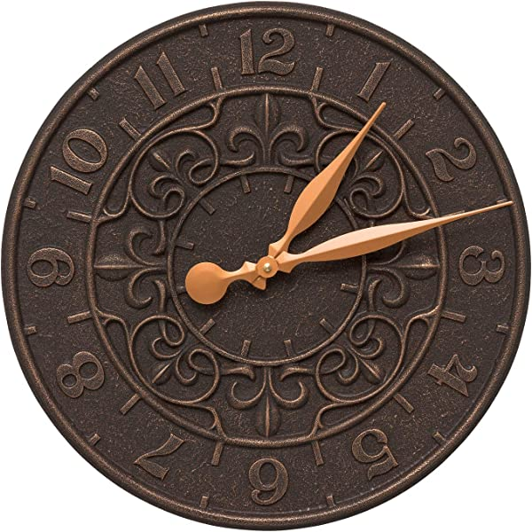 Whitehall Vine And Fleur Indoor Outdoor Wall Clock 16 Oil Rubbed Bronze