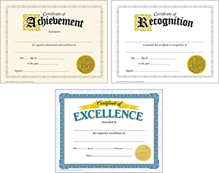 Award Certificates for Students and Professionals: Certificate of Achievement, Certificate of Excellence, Certificate of Recognition | Set of 3, Each Contains 30 Per Pack, 8.5 Inch x 11 Inch