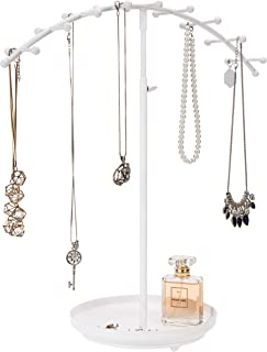 MyGift 18-Hook White Modern Metal Adjustable Height Jewelry Display Stand/Necklace & Bracelet Organizer Rack with Ring Tray