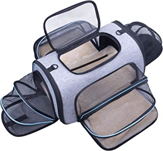Siivton Airline Approved Pet Carrier, Soft Sided Pet Travel Carrier 4 Sides Expandable Cat Carrier with Fleece Pad for Cat...