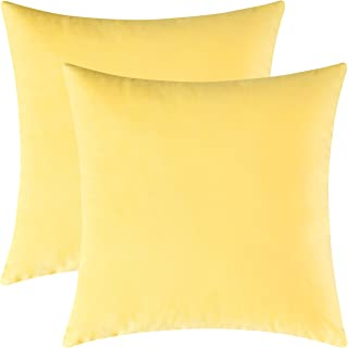 Mixhug Set of 2 Cozy Velvet Square Decorative Throw Pillow Covers for Couch and Bed, Pale Yellow, 18 x 18 Inches