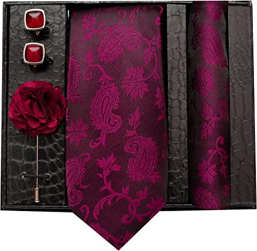 Formal Casual Printed Polyester Necktie Set With Pocket Square Lapel Pin And Cufflinks For Men